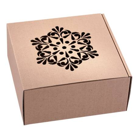Pudełko prezentowe EKO Kraft 2 22x22x10 cm - ROZETA