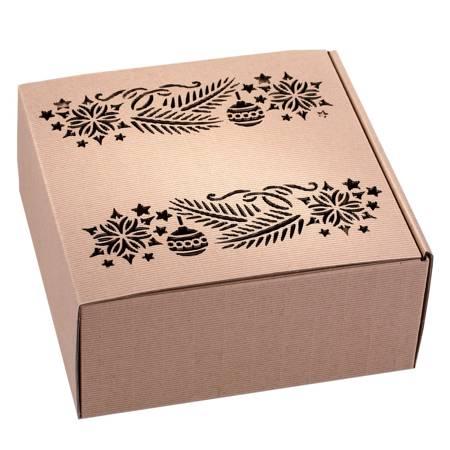 Pudełko prezentowe EKO Kraft 3 22x22x10 cm - GAŁĄZKI