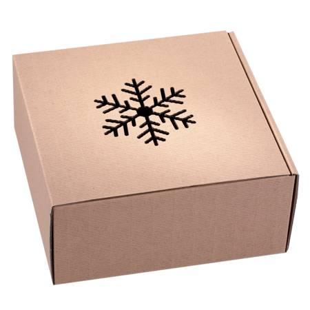 Pudełko prezentowe EKO Kraft 4 22x22x10 cm - ŚNIEŻYNKA