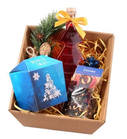 Zestaw prezentowy ze świąteczną Nalewką Wawelską i Śliwkami w czekoladzie